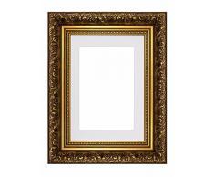 Memory Box Cadre Photo Style Baroque français avec Passe-Partout avec décorations Style Ancien Cadre Photo et Poster - m-FR-Baroque-Parent, Cadre doré avec Cadre Blanc 10 x 8 cm pour 7 x 5 cm