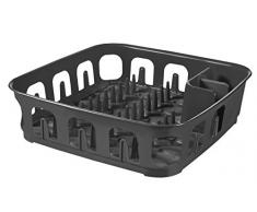 CURVER | Egouttoir essentials carré 12 assiettes, Anthracite, Sink Top, 39,1x39,1x10,9 cm