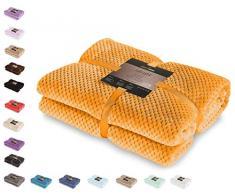 DecoKing Henry Couverture Plaid en Microfibre très Douce, Style scandinave, Microfibre, Orange, 70 x 150 cm