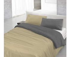 Italian Bed Linen 8058575000583 Parure de lit avec Housse de Couette et taies doreiller, Couleur Unie et réversible, Couleur : Fraise/Fumée, 100% Coton pour Lit 1 Place 150 x 200 x 1 cm