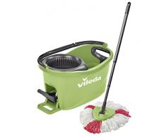 Vileda Turbo EasyWring & Clean Kit de Nettoyage Complet avec Seau équipé d'Un système d'essorage et Balai à Franges Turbo Colors Vert. Vert