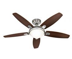 Hunter Fan 50612 Contempo Ventilateur de plafond avec Eclairage Acier 52 W Nickel Brossé 132 cm