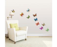Walplus Autocollant Sticker Walplus Décoration Murale 3D Papillon Coloré Effet Brillant Vif 10 P