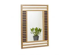 Relaxdays Miroir en bambou glace de salle de bain fixation murale en bois HxlxP: 70 x 50 x 2 cm cadre design décoratif accrocher dans le salon couloir entrée accessoire déco, nature