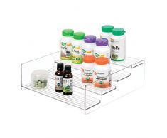 iDesign rangement cuisine, grande étagère de rangement en plastique à 4 niveaux, étagère à épices pratique pour épices et ingrédients, transparent