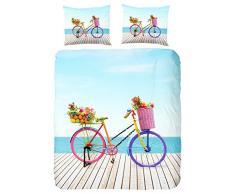 GOOD MORNING Parure de couette Bicycle 100% coton - 1 housse de couette 200x200cm + 2 taies doreiller 60x70cm multicolore