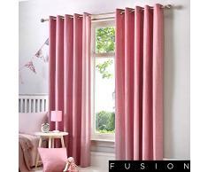 Fusion Rideaux à œillets doublés Sorbonne. Couleur Unie en Coton, Tissu, Rose poudré, 46x54 (117 x 137 cm)