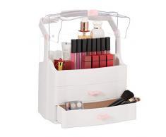 Relaxdays 10029445 Organiseur de Maquillage, 2 tiroirs, Coffret de présentation, Portable, cosmétiques et Bijoux HxlxP39x28x18cm, Plastique, Blanc, 1 élément