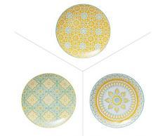 TABLE PASSION AAS3562071 Assiette, Porcelaine, Multicolore, 20 X 20