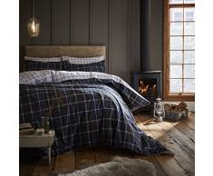 Catherine Lansfield Tartan Check Parure de lit avec Housse de Couette 240x260x1 cm Bleu Marine
