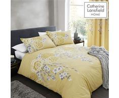 Catherine Lansfield Oriental Blossom Parure pour Couette, Polycoton, Jaune, King