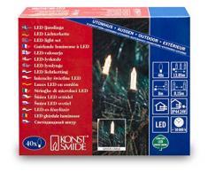 Konstsmide 6004-100 Mini Guirlande 40 LED Blanc Chaud Retro Design + Câble Vert 24 V