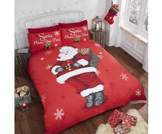 Father Christmas Kids Père Noël pour Enfant Motif Flocon de Neige Parure de lit avec Housse de Couette et 2taie doreiller Parure de lit, Rouge, Double