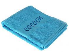 Douceur dIntérieur Drap Bain Brode Cocoon Coton Turquoise 90 x 150 x 150 cm