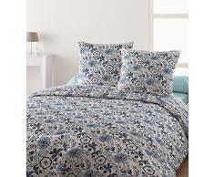 Santens KENZIA Parure Housse de Couette, Coton, Bleu, 240x260 cm