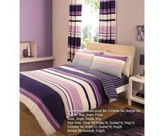 T&A Textitles Contemporain Rayures Imprimé Housse de Couette, Violet