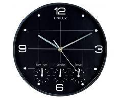 Unilux On Time Pendule de bureau murale Système Quartz avec 4 Fuseaux horaires Ø 30,5 cm Noir