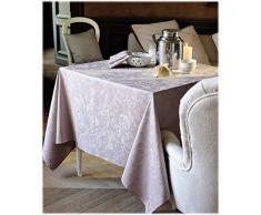 Garnier-Thiebaut MILLE CHARMES Nappe ronde, coton, Ecru De Blanc, diam. 180 cm