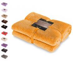 DecoKing Couette en Microfibre Couverture Polaire Plaid Couvre-lit Polaire Doux de Style scandinave Henry, Microfibre Orange 150x200 cm