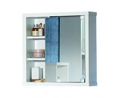 Intradisa 8910 - Armoire de Salle de Bain avec 1 Porte à Miroir latéral Blanc