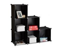 Relaxdays Étagère escalier 6 compartiments meuble bibliothèque séparation multi-cases séparateur de pièces, noir