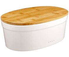 Kela Boîte à Pain en Céramique, Couvercle en Bambou, Salena, 37x24x14 cm, 12064, Blanc/Bois