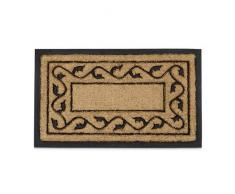 Relaxdays Paillasson en fibres de coco tapis de sol face inférieure antidérapant en caoutchouc intérieur extérieur avec motif décoratif L x l 75 x 45 cm nature