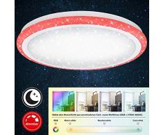 Briloner Leuchten Plafonnier LED dimmable à décor étoilé – Lampe de plafond réglable avec télécommande – Fonction veilleuse, change de température et de couleurs – Diamètre 41 cm