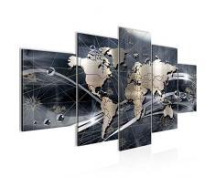 Tableau decoration murale Carte du monde - XXL Impression sur Toile Salon Appartment 5 Parties - prêt à accrocher - 106853c