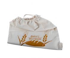 Westmark Sac à Pain/Sac de Rangement avec Cordon de Serrage, 100% Coton, pour Le Boîte à Pain, 38x 45cm, Blanc Naturel, 32102270