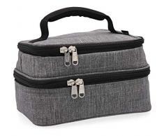 Quid Sac à Repas Lunch Bag, extérieur en Tissu et intérieur Isotherme, 21 x 14 x 12 cm, 2 Compartiments, matériau (Mousse Thermique), Gris, S