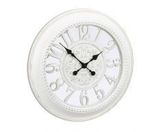 Relaxdays Horloge murale rétro design vintage ronde cuisine Shabby chic sans bruit 56 cm de diamètre, blanc