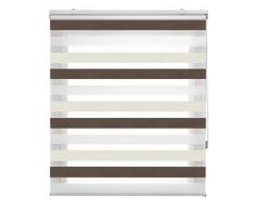 Blindecor Store Enrouleur Double Tissu Nuit et Jour, Polyester 140 x 180 cm Marron crème