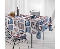 Le Jardin des Cigales Toucher Soft Atlantis Nappe en Polyester Imprimé 150 x 240 cm