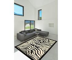 Un Amour de Tapis 3311 Zèbre Tapis Moderne Polypropylène Noir et blanc cassé 160 x 230 cm