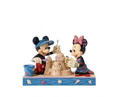 Disney Traditions 4050413 Figurine Mickey et Minnie Construisent un Château de Sable Figurine Multicolore 15 cm