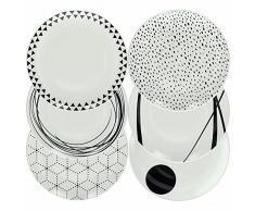 Tognana Graphic Service de table en porcelaine 18 pièces Blanc