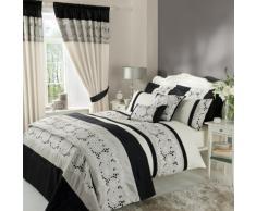 Catherine Lansfield Isadora Draps brodés, noir, Parure pour lit simple