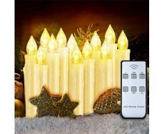 VicTsing Bougies à LED Lot de 12 Bougies Électriques à Piles Coniques, 0.6 x 3.5 Bougies LED Flamme Vacillante avec Pinces Amovibles et Télécommande pour Noël Mariages Fêtes et Décoration Intérieure