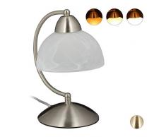 Relaxdays 10029517_55 Lampe de Table Vintage, Tactile, Verre et Fer, réglable,décoration,E14, 230 VHlP 25x15x19cm, argenté, 40 W