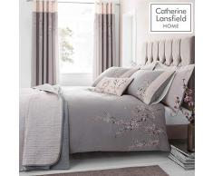 Catherine Lansfield Embroidered Blossom Parure pour Couette, Polyester, Gris, Double