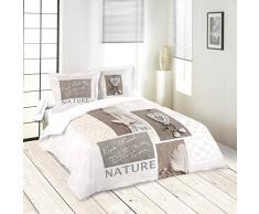 LOVELY CASA Nature Housse DE Couette 240X220 CM + 2 TAIES 63X63 CM, Coton, Blanc