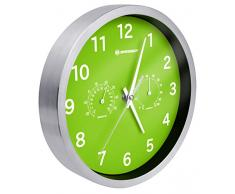 Bresser 8020311B4K000 MyTime Thermo-/ Hygro Horloge murale Acier Inoxydable Vert 25 x 4,6 x 25 cm