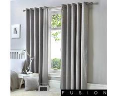 Fusion Rideaux à œillets doublés Sorbonne. Couleur Unie en Coton, Coton, Silver, 90x90 (229 x 229 cm)