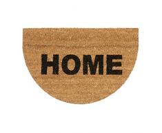Relaxdays Paillasson en fibres de coco tapis de sol porte entrée demi-rond HOME demi-lune dessous antidérapant en caoutchouc PVC L x l 60 x 40 cm, nature