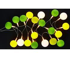 Atelier de Famille GUIR-15 Guirlande Lumineuse Intérieur Boule Coton Batch of 20 Vert/Jaune/Blanc 34 x 13 x 13 cm