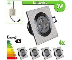 LEDVero 4 x Spot LED encastrable 3 W Lot de 4 Carré Blanc Froid ebl10