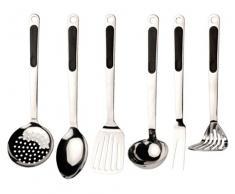 BergHOFF 2800850 Lot de 7 Ustensiles de cuisine Acier Inoxydable/Polypropylène Noir 12 x 9 x 37 cm