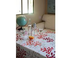 Nappe Rectangulaire anti-tache imperméable 160x240cm Corail Rouge par Fleur de Soleil - coton enduit - sans solvant - sans phtalate - 100% fabrication française