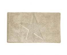 Kela 21175 Tapis de Bain Motif Etoile 100% Coton, 120x70 cm, Lindano Vanille
